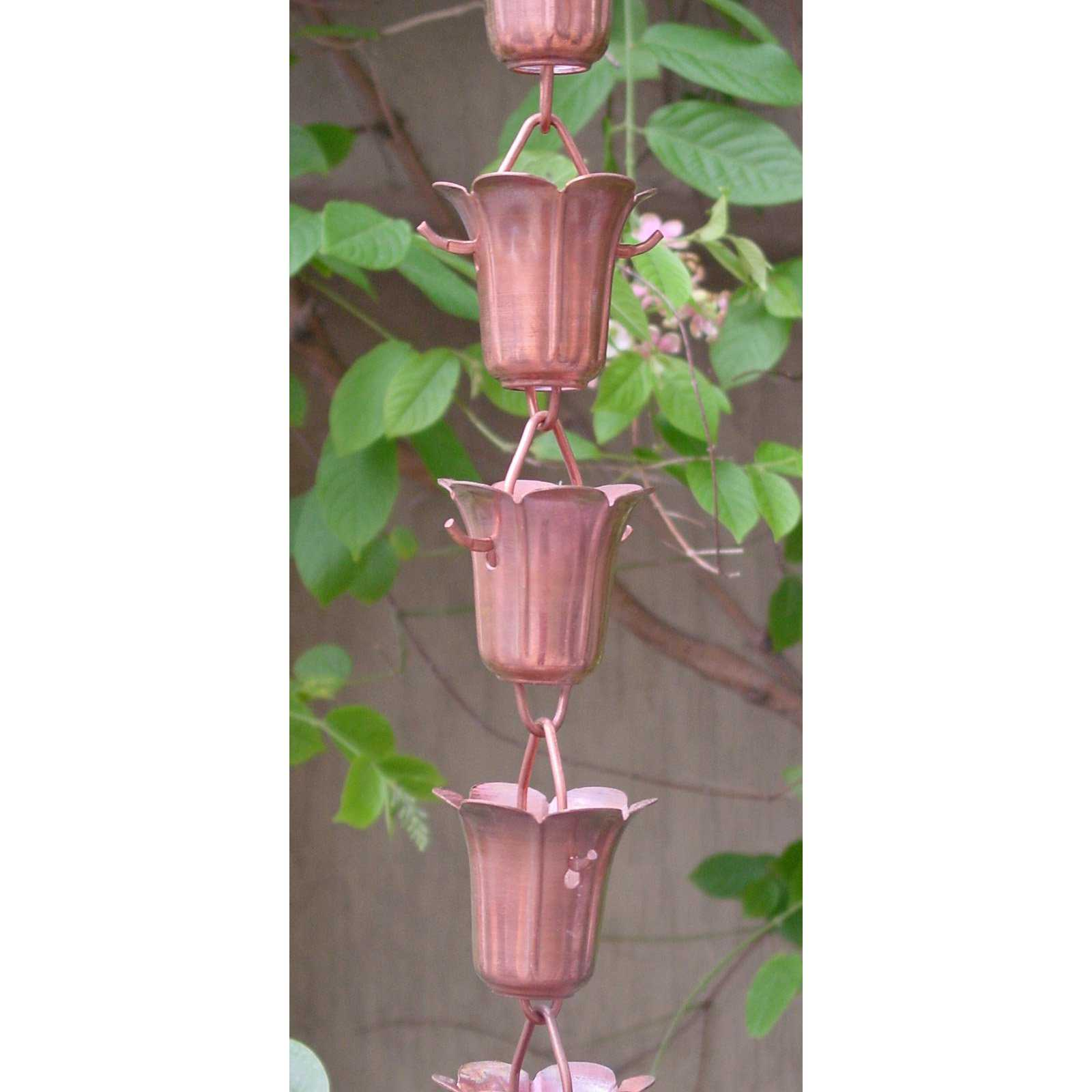 Monarch 8.5 ft. Copper Tulip Rain Chain