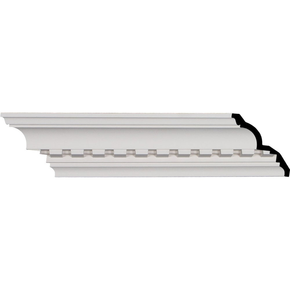 Ekena Millwork Polyurethane Crown Moldings/Dentil Crown Molding 1 5/8' Repeat / 4 3/4'H x 4 1/8'P x 6 3/8'F x 95 7/8'