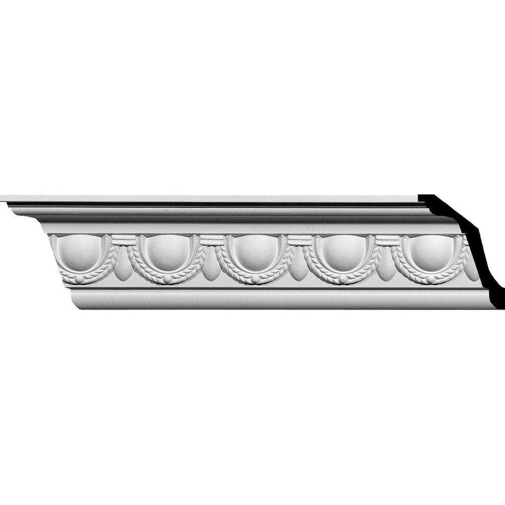 Ekena Millwork Polyurethane Crown Moldings/Federal Egg and Dart Crown Molding / 5 1/4'H x 4'P x 6 5/8'F x 94 1/2'