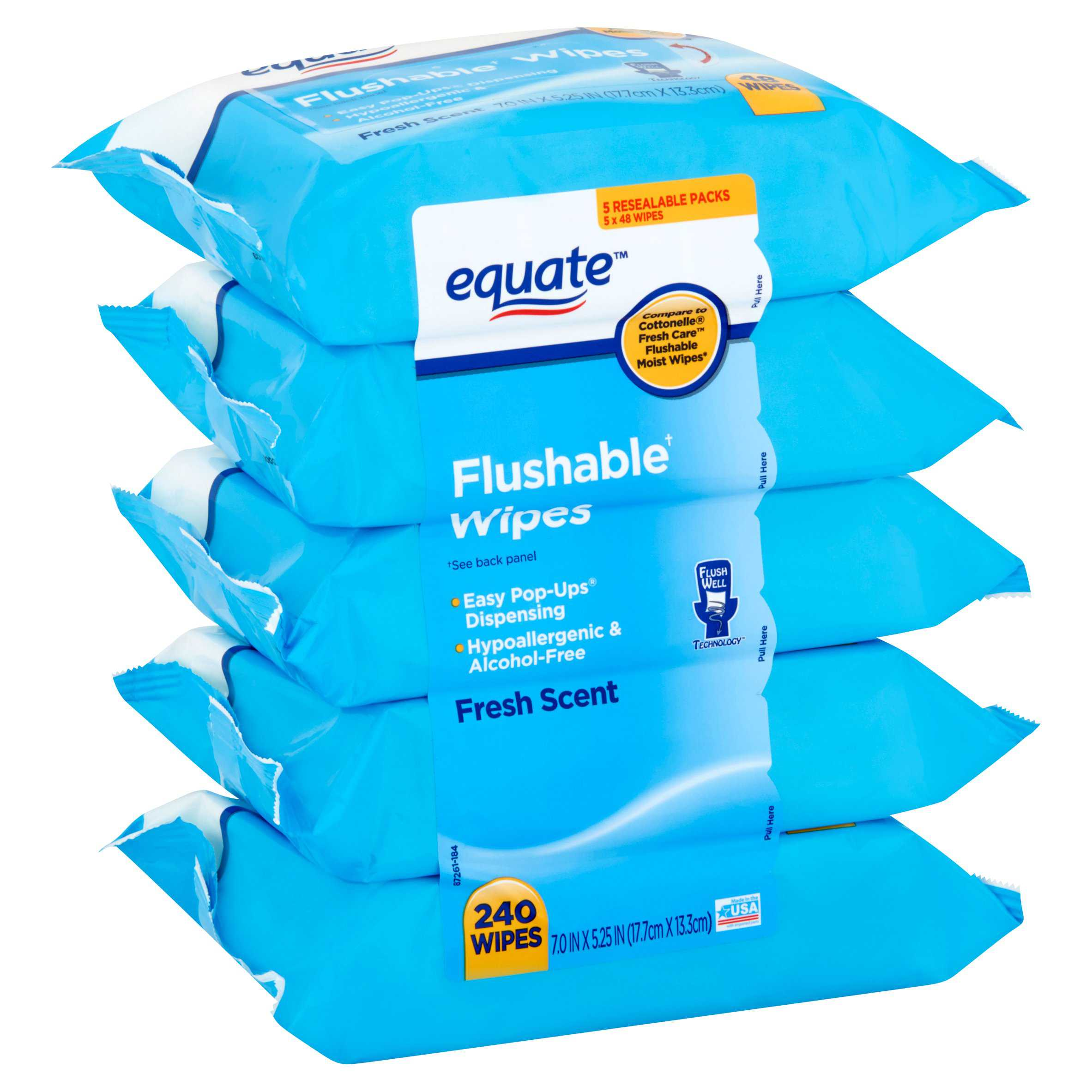 Equate Flushable Wipes, Fresh Scent, 240 Ct